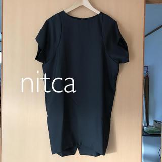 ニトカ(nitca)の【 nitca ニトカ 】コクーン ワンピース ドレス ブラック 黒 フォーマル(ひざ丈ワンピース)