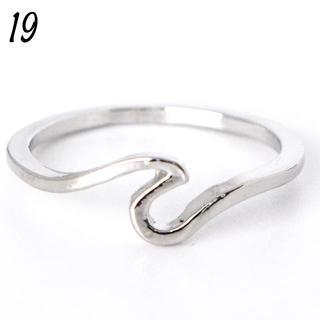 ウェーブリング 19号 シンプル シルバー レディース 大きいサイズ(リング(指輪))