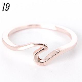 ウェーブリング 19号 シンプル ローズゴールド レディース 大きいサイズ(リング(指輪))