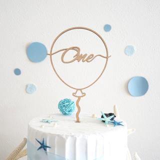 ファミリア(familiar)のケーキトッパー バルーンone 一歳 アニバーサリー 記念日 誕生日 飾り 木製(その他)