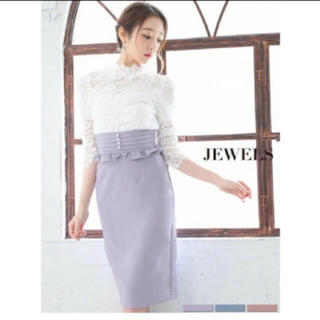 ジュエルズ(JEWELS)の袖ありドレス♡レーストップス♡ハイウエストスカート(ナイトドレス)