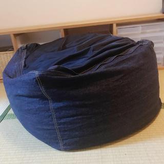 MUJI (無印良品) - 無印 体にフィットするソファ綿デニム/ネイビー幅65×奥行65×高さ43cm