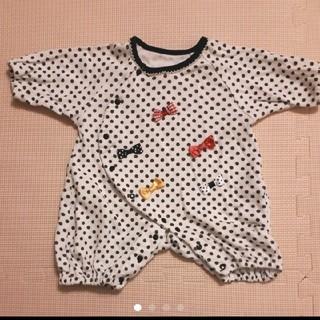リボンとドット柄 五分袖ロンパース 60~70サイズ(カバーオール)
