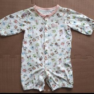 ニシマツヤ(西松屋)の50~60サイズ ピンクのアニマル柄カバーオール 七分袖ツーウェイオール(カバーオール)