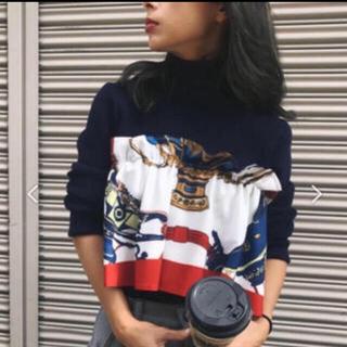 アメリヴィンテージ(Ameri VINTAGE)のRITA SCARF DOCKING KNIT AMERI ニット ネイビー(ニット/セーター)