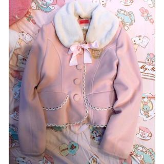 ベイビーザスターズシャインブライト(BABY,THE STARS SHINE BRIGHT)のBABY ファー襟ショートコート ピンク 美品♡(毛皮/ファーコート)