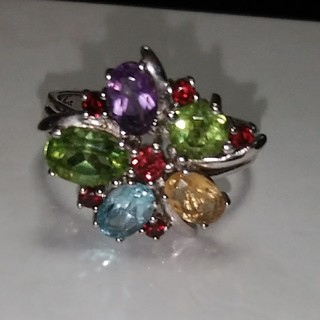 天然石のシルバーリング20号とおまけの水晶のリング(リング(指輪))