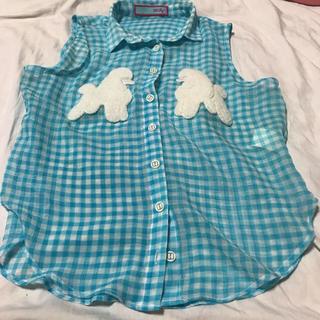 リルリリー(lilLilly)のlilLilly ♡ リルリリー ♡ プードルギンガムノースリーブシャツ(シャツ/ブラウス(半袖/袖なし))