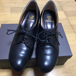 ショセ(chausser)のchausser ショセ   レースアップ ヒール パンプス  黒 24.0 (ローファー/革靴)