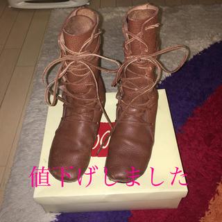 コース(KOOS)のkoos レザー編みあげブーツ(ブーツ)