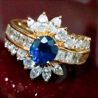 250万円 K18 ダイヤ 3.1721ct サファイア 1.49ct 非加熱(リング(指輪))
