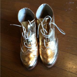 パリ古着屋購入◎ゴールドウエスタンブーツ(ブーツ)
