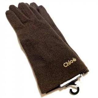 クロエ(Chloe)の新品 ブラウン  カシミヤ ウール ナイロン 手袋(手袋)