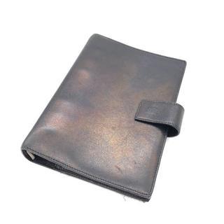 グッチ(Gucci)の中古 GUCCI グッチ 6穴 リング式 手帳型 レザー カバー 黒(手帳)