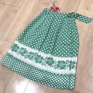 タスタス(tasse tasse)のレトロ柄  グリーン  スカート  ミモレ丈(ひざ丈スカート)