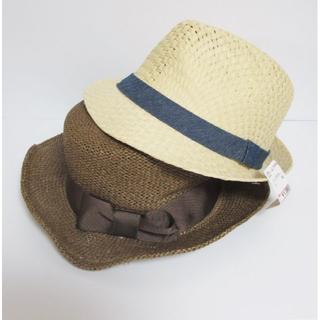 シマムラ(しまむら)の麦わら帽子 二つまとめて リボン ブラウン ベージュ しまむら イーザッカ(麦わら帽子/ストローハット)