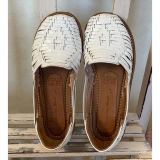 サマンサモスモス(SM2)の abc様専用❣️SM2天然皮革メッシュ スリッポン 白 L(ローファー/革靴)
