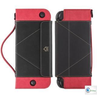 ニンテンドースイッチ(Nintendo Switch)のNintendo Switch 手帳型 ケース レザー製 保護カバー BK/RD(携帯用ゲーム本体)