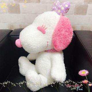 スヌーピー(SNOOPY)の【新品】ベル お座りジャンボぬいぐるみ〈ピンク〉(非売品)(ぬいぐるみ)