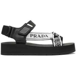 プラダ(PRADA)のPrada  ブラック & ホワイト ベルクロ Nomad サンダル(サンダル)