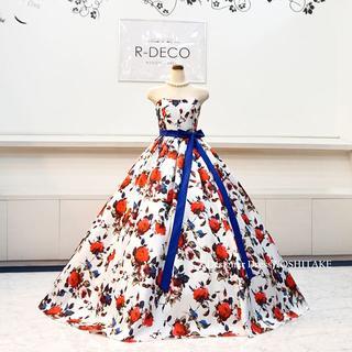 3fb39fe0bdf2b ウエディングドレス(パニエ無料) 白ベース花柄ドレス 二次会 披露宴(ウェディング