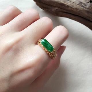 170 k18 翡翠 ヒスイ高級なリング 猫リング 贅沢指輪 ゴールド ハット (リング(指輪))