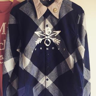 エム(M)のburnout  チェックシャツ ブルー(シャツ)