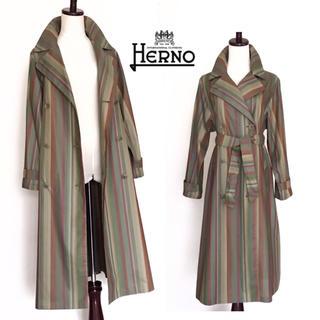 ヘルノ(HERNO)の極美品 HERNO ヘルノ トレンチコート ストライプ柄(トレンチコート)