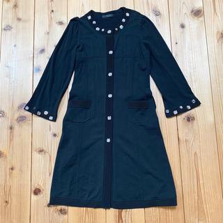 コトゥー(COTOO)のコトゥCOTTO長袖ブラック黒コートシャツ ワンピースウエスト紐付38  (ひざ丈ワンピース)