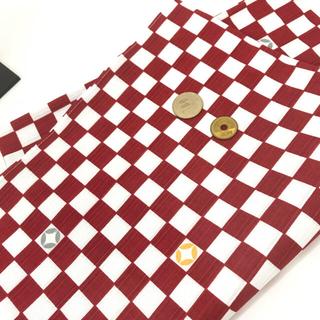 新商品【和布 市松七宝】☆90センチ幅【紅/白】(着物)