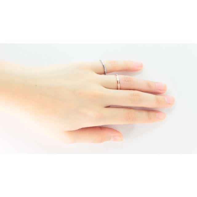 R01キラキラフロスト加工 ステンレス ピンキーリング ピンクゴールド 銀26 レディースのアクセサリー(リング(指輪))の商品写真