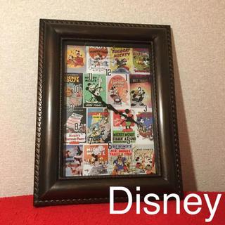ディズニー(Disney)のDisney アンティーク 額縁クロック ミッキー(掛時計/柱時計)