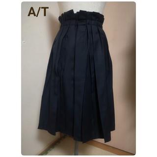 エーティー(A/T)のA/T  ハイウエスト変形プリーツ スカート (ウエスト総ゴム)(ひざ丈スカート)