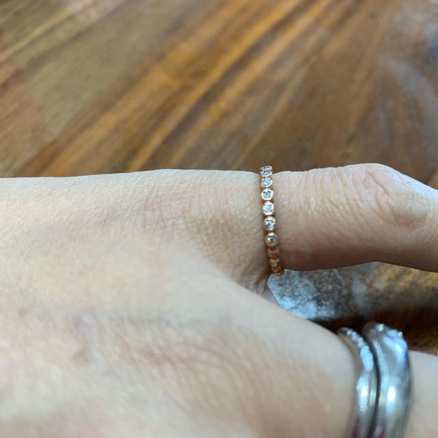 agete(アガット)のアガット  フリルダイヤリング ピンクゴールド❣️美品❣️ レディースのアクセサリー(リング(指輪))の商品写真