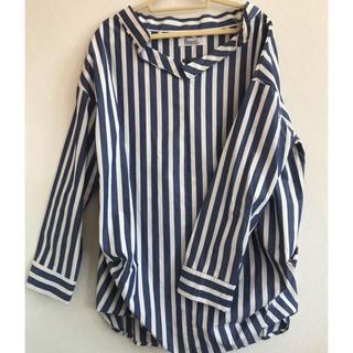 オールオーディナリーズ(ALL ORDINARIES)のブルーストライプシャツ 春物  タグ付き(シャツ/ブラウス(長袖/七分))