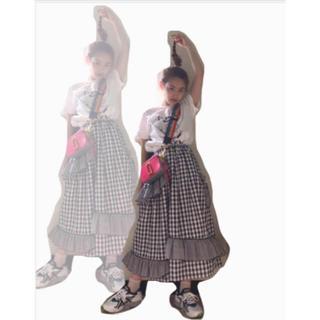 ハニーミーハニー(Honey mi Honey)のチェックフリルスカート(ひざ丈スカート)