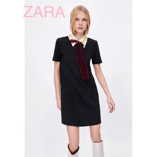 ザラ(ZARA)のsale!新品タグ付☆ZARAザラ☆刺繍ベロアリボンブラックドレス(ミニワンピース)