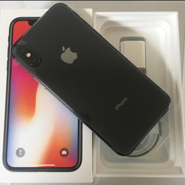 iPhone(アイフォーン)の美品 黒 iphonex 256GB BLACK iphone x 256 gb スマホ/家電/カメラのスマートフォン/携帯電話(スマートフォン本体)の商品写真