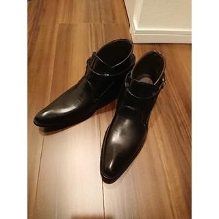 テットオム(TETE HOMME)のTETE HOMME モンクストラップ レザー シューズ ブーツ ブラック(ドレス/ビジネス)