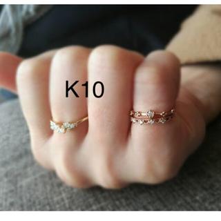 値下げ 新品 ダイヤ・ミル打ちピンキーリング K10(リング(指輪))