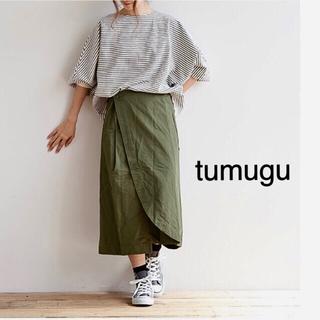 ツムグ(tumugu)の●新品●tumugu 【ツムグ】ガルゼスカートパンツ  カフェパンツ(カジュアルパンツ)