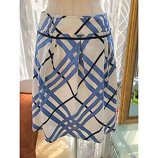 バーバリーブルーレーベル(BURBERRY BLUE LABEL)のバーバリーブルーリボン柄スカート38爽やかブルー(ひざ丈スカート)