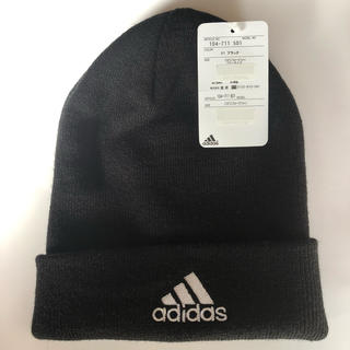 アディダス(adidas)の新品 大人気 男女兼用 adidas アディダス ニット帽 黒 即購入(ニット帽/ビーニー)