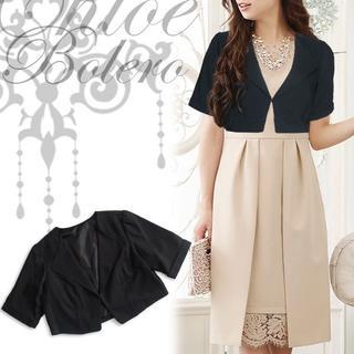 新品 襟デザインボレロ 黒 ブラック M パーティー 結婚式 フォーマル(ボレロ)