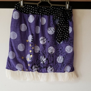 スカラー(ScoLar)のドット柄女の子イラストスカート(ミニスカート)