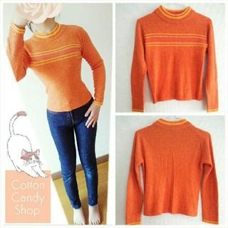 シマムラ(しまむら)の꒰⑅ 着画 オレンジ 女の子用 セーター ⑅꒱(ニット)