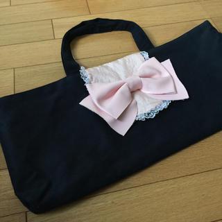 鍵盤ハーモニカ用 手提げ袋 ピンクののリボンがかわいいです(ハーモニカ/ブルースハープ)