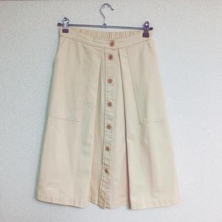 オールオーディナリーズ(ALL ORDINARIES)の美品 フロントボタン Aラインスカート vintage(ひざ丈スカート)
