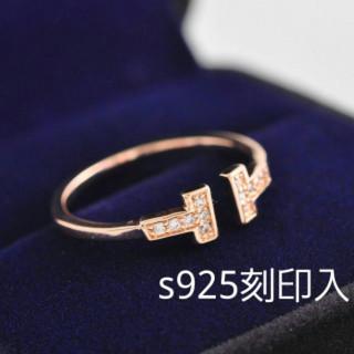 刻印有☆シルバー925 18金コーティング T字 ピンクゴールド(リング(指輪))