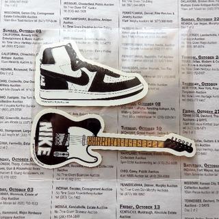 ナイキ(NIKE)のナイキ ステッカー スニーカー ギター 黒 シール(ステッカー)